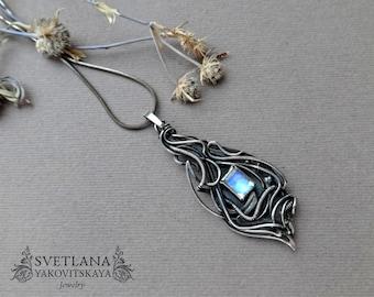 Moonstone pendant, Wire wrap pendant, Blue Moonstone, Silver Pendant, natural Moonstone, Silver Jewelry, Moonstone, Wire jewelry, Wire wrap