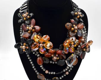 Black Onyx Crystal Amber & Freshwater Hand Wired Beaded Statement Necklace.