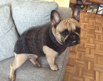 French Bulldog Hand Knitted Cable Coat