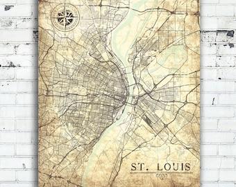 st louis canvas print mo missouri vintage map st louis city vintage map wall art - Home Decor St Louis Mo