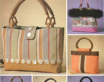 Butterick B4474 Sewing Pattern for 6 Styles of Handbags With Variations on Purchased Handles and Trim