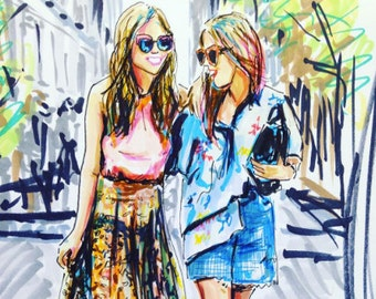 Street Style BFF Fashion Illustration Sketch by Cris Clapp Logan
