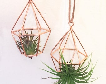 Copper Geometric Air Plant Hanger - Pyramid