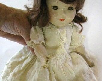"Beautiful Vintage Composition Sleep Eyes Doll, Metal Eyes, Brunette Wig, Lace Dress, 13"", Madam Alexander Doll- Metal Eyes"