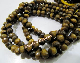 AAA Quality Genuine Tiger Eye Beads , Rondelle Faceted Gemstone Beads , 6-7mm Size Semi Precious Beads , Sold per Strand approx 8 inch long