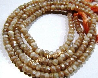 SALE- AAA Quality AB Coated Peach Moonstone Beads , Rondelle Faceted Mystic Coated Gemstone Beads , 3-4mm Size , Length 13 inches , Wholsale