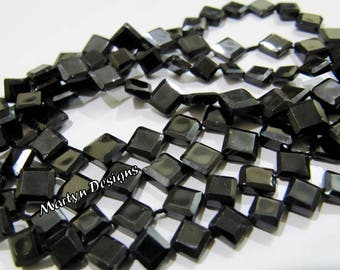 Genuine Black Spinel Square Shape Beads , Faceted Square Black Spine Beads , 7 to 8mm Size Fancy Shape Beads, Sold per Strand 13 inch long