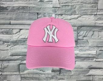 NEW YORK YANKEES Cap Vintage 90's Ny Yankees Pink Cap Teen Baseball Cap Sportswear Ny Big Logo Apparel Adjustable Sport Pink Cap Girl