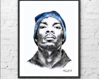 Snoop Dogg print, snoop dogg painting, rapper print, snoop dogg art.