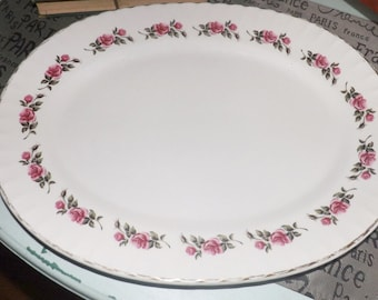 Vintage (c.1960s) Ridgway Romance White Mist large oval vegetable or meat platter. Pink rose sprays, 22-karat gold edge.