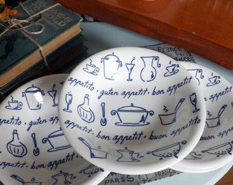 Vintage (c.1980s) La Primula | Adamo bon appetit | guten appetit | Buon Appetito pasta, soup, salad or cereal bowl. Made in Italy.