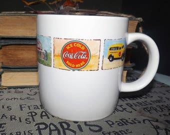 Vintage (c. mid 1990s) Gibsons Coca-Cola Good Old Days large ceramic coffee or tea mug. 1960s imagery.