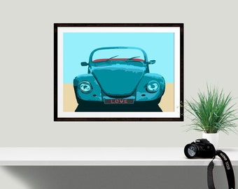 VW Beetle Print, Retro beetle wall decor, Unique Wedding present, Housewarming Gift, Gallery Wall Print, Giclee print, Gift for friend