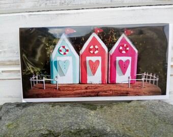 Blank Beach Huts Greetings Card, Birthday card, Thank you card, Any occasion blank card, Original design, Beach, Gift card, Sea Harr Houses.