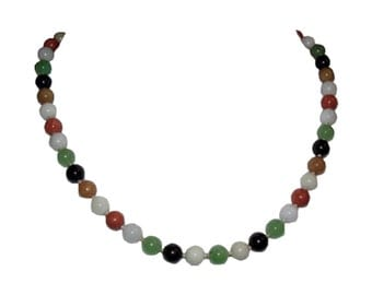 14 kt Gold Multi Colored Jade Bead Necklace