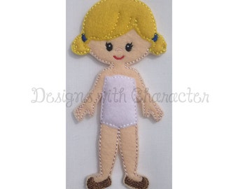 """Felt doll """"In the Hoop"""" embroidery design """"Bernadette""""- 4 x 4 and 5 x 7 size"""