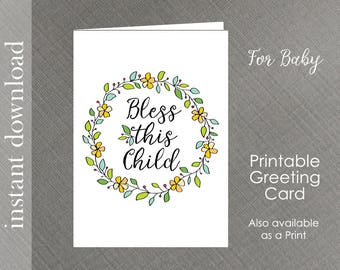 Baby Card Printable, baby shower card, baby congratulations, Bless This Child, Christening card, baby quote card, religious baby, baby card