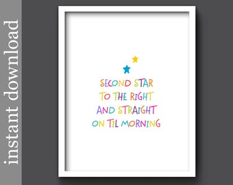Peter Pan Quote, nursery printable, nursery wall art, nursery decor, baby room decor, children's art, colorful print, colorful nursery