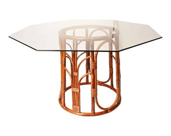Vintage BAMBOO DINING TABLE Octagon Glass Top rattan mid century modern bohemian boho chic mcm mod asian hollywood regency