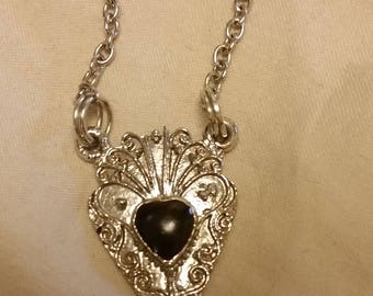 Vintage Necklace (Silver with Black Accent)