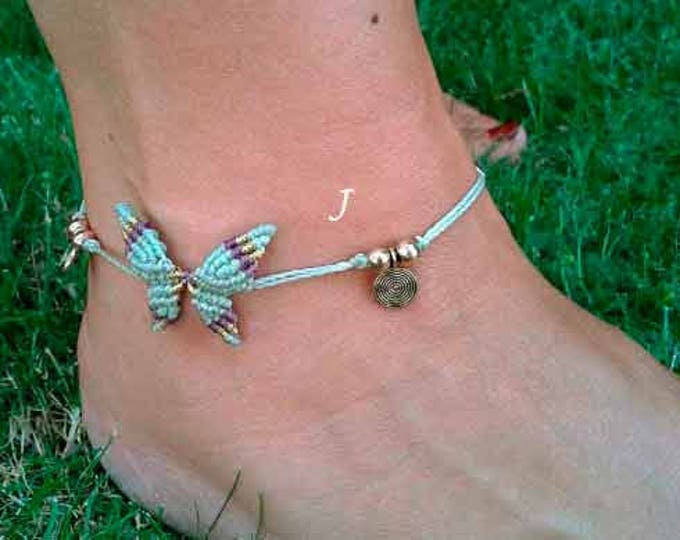 Macrame Butterfly Mod. Ana, bracelet anklet, 10 colors to choose, butterfly anklet, anklet brass, macrame anklet nickel free, free shipping