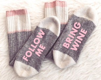 Women's Wine Socks, If You Can Read This Socks, Wine Socks, Funny Birthday Gift Present Wool Wine Socks Bring Me Wine Cute Gift Idea Wine