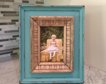 4x6, 5x5, 5x7 rustic, lightly distressed picture frame.