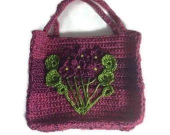 Violets Crocheted Bag with a Gussett
