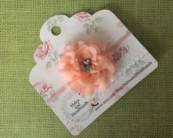 Peach Chiffon Flower Headband, Chiffon Flower Headband. Chiffon Flower, Flower Headband, Newborn Flower Headband, Baby Headband, Photo Prop