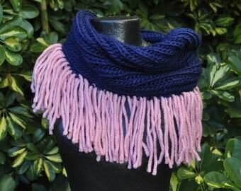 Navy Blue neck fringed pink