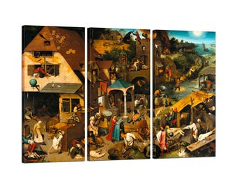 Painting on canvas with Tris Frame Pieter Bruegel the Elder The Dutch Proverbs