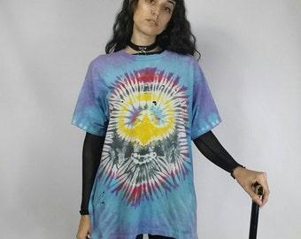 "Vintage Distressed Tie Dye Tshirt size S-L (bust 48"")"