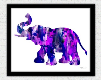 Elephant Digital Download, purple elephant print, elephant watercolor print, elephant silhouette,elephant art,elephant painting print