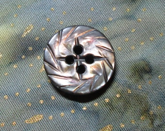 Carved Radial Vintage MOP Button Smokey Gray Small