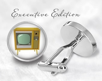 Vintage Television Cufflinks - Classic TV Cuff Links - Retro TV Cufflinks (Pair) Lifetime Guarantee (S0426)