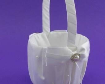 Satin Ribbon Pearll Drop Wdding Flower Basket