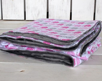 "Pink Elephant Minky Baby Blanket, 34"" x 40""-Elephants/Grey/Pink/White/Minky/Crib Blanket--Ready to Ship"