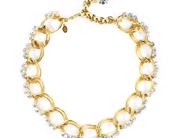 David Mandel for The Show Must Go On Gold Tone / Clear Crystal Chunky Chain Necklace