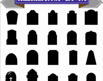 Tombstoen Cemetery Graveyard Tomb Halloween Vector Clipart PNG EPS Digital Files Transparent Scrapbook Supplies Clip Art Instant Download