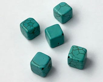 Turquoise Square Beads, Genuine Turquoise Cube Beads, Blue Turquoise Cube, Genuine Gemstone Cube Beads, Blue Gemstones, Brown Matrix, 12MM