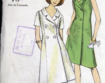 Vintage Jackie Type Vogue Pattern 6381 One Piece Dress Double Breasted Sz 12 Uncut