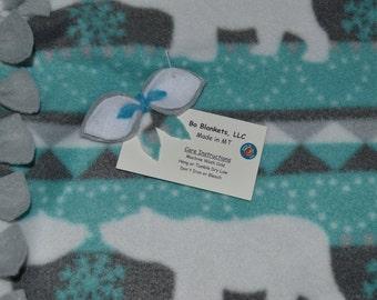 "Polar Bear Christmas - Fleece Bo Blanket (Child Size) - 48"" x 56"""