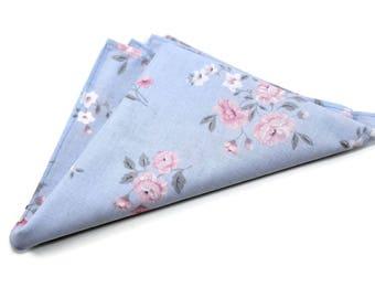 baby blue and pink floral pocket squares. Pink floral pocket squares. Matching bow tie. matching necktie. Wedding pocket squares