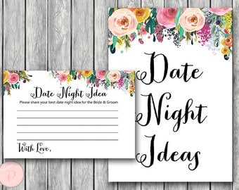 Date Night Ideas, Date Night Cards, Date Night Sign, Bridal Shower Activity, Bridal shower game, Engagement Party Game WD70 TH15