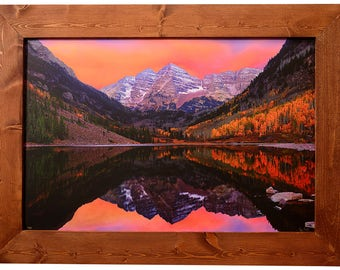 Maroon Bells Custom Framed Limited Edition Print From Maroon Lake in the Colorado Maroon Bells National Recreation Area, Home Decor Wall Art