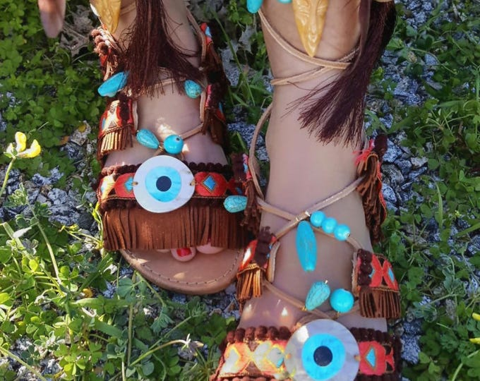 "Greek handmade sandals ""GOOD LUCK ""africa sandals,fringes ,tassels,boho sandals,ethnic,women's sandals ,leather sandals,evil eyes,pompom"