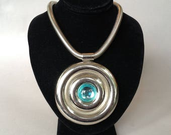Silver Tone Stainless Steel Gaspipe Chain Pendant/Medallion Necklace