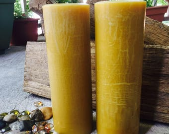 "100% Pure Beeswax Pillar Candle-beeswax candles-tall beeswax pillar candle-handmade pillar candles-organic beeswax candle-3""w up to 15""h"