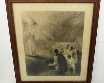 Antique 1893 World's Fair The Announcement To The Shepherds Uhde Engraving Barrie Souvenir Print Religious Christian Angel Scene