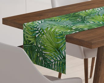 Palm Leaf Table Runner | Tropical Table Runner | Palm Table Runner | Green Table Runner | Tropical Table Linen | Tropical Table Decor